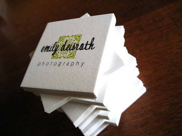Square White Business Card